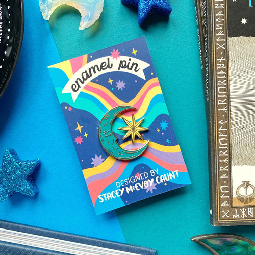 Moon and Star Enamel Pin Set