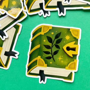 Green Spell book Vinyl Sticker