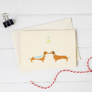 Christmas Mistletoe Dachshund Christmas Card