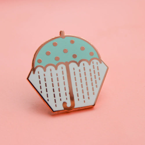 Umbrella Rose Gold Enamel Pin