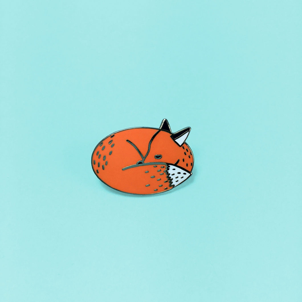 Sleeping Fox Enamel Pin