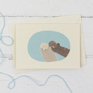 Otters in the snow Christmas Card