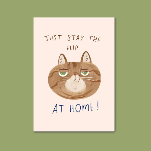 Charity Postcard - Just stay the flip at home Postcard