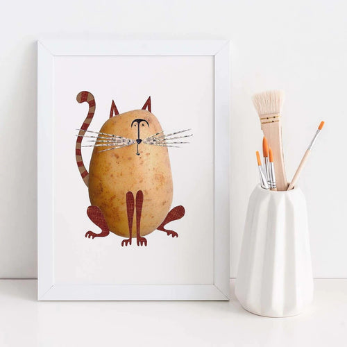 Potato Cat A4 Art Print
