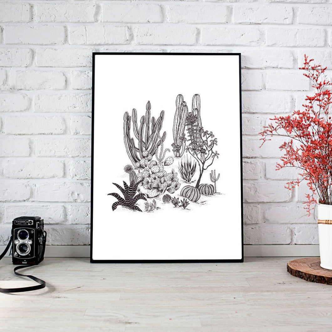 Cactus Drawing Print