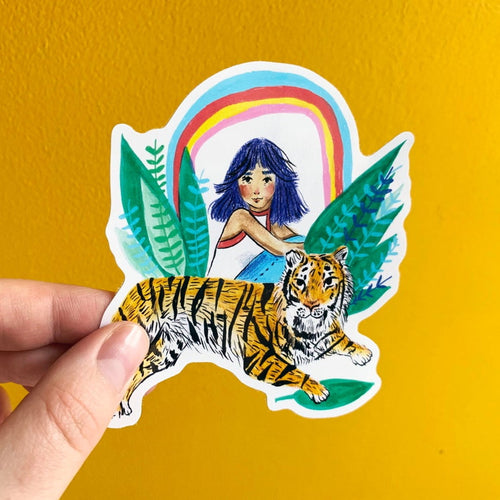 Tiger Girl Rainbow 10cm Vinyl Sticker