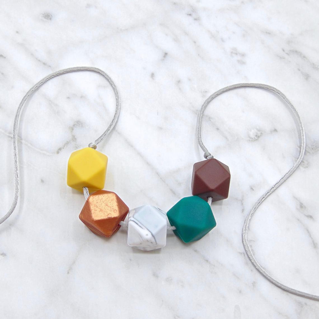 Mustard and Emerald Teething Necklace