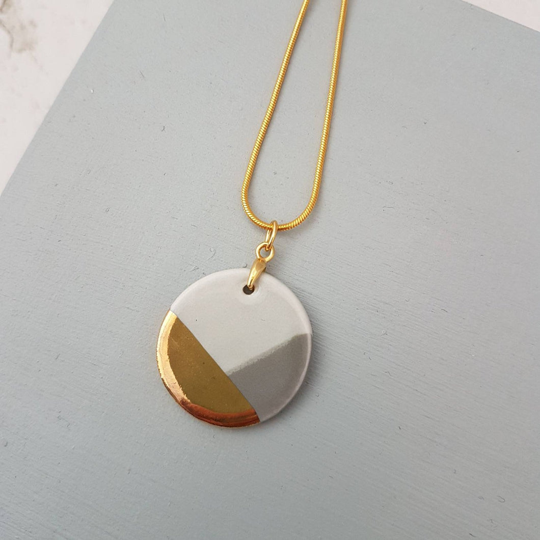 Grey & Gold Round Pendant Necklace
