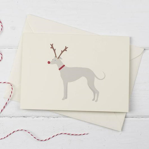 Whippet Rudolph- Christmas greetings card