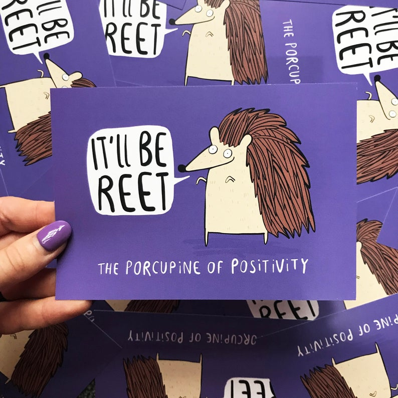 Porcupine of Positivity A6 Postcard