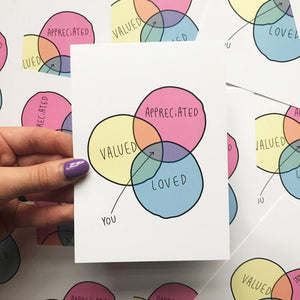 You are valued, appreciated, loved - Venn diagram A6 Postcard