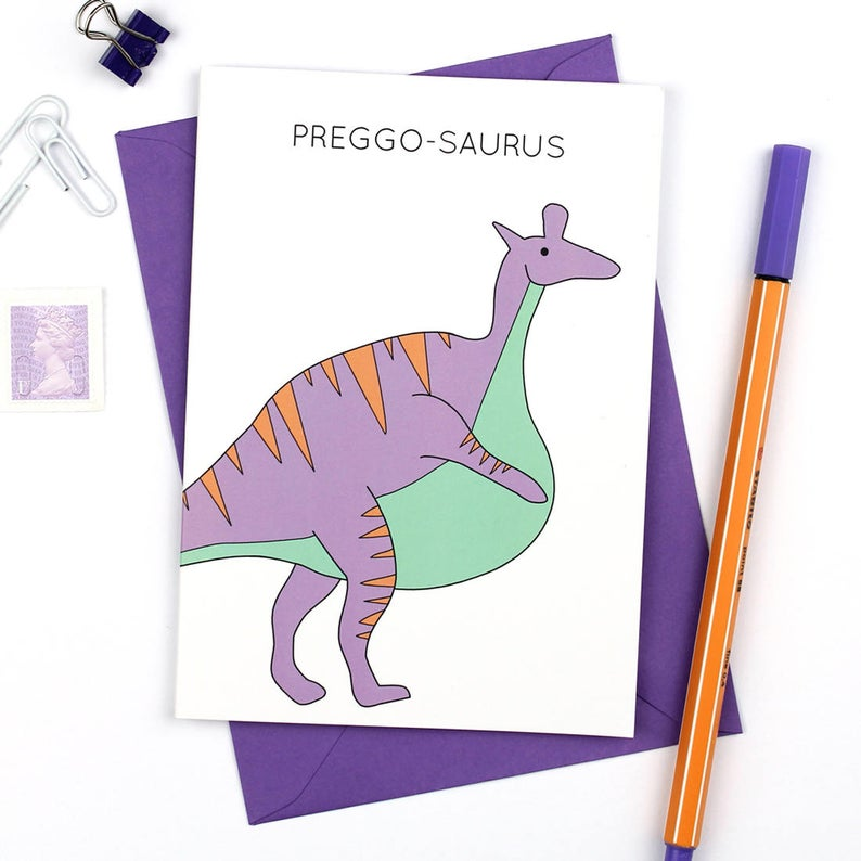 Dinosaur Pregnancy Card