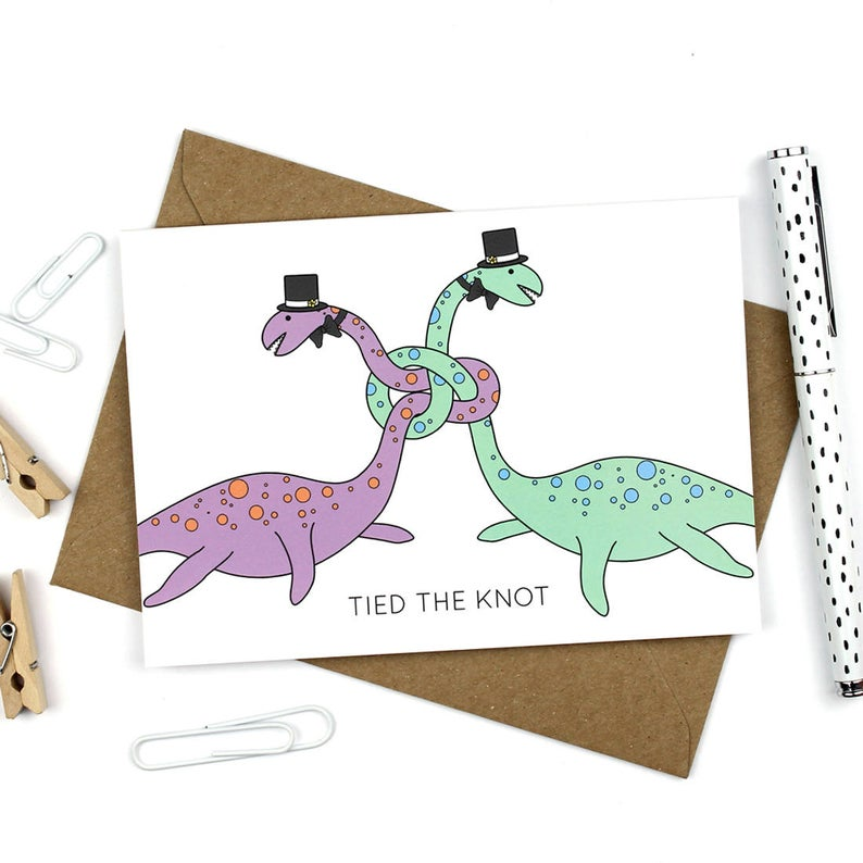 Dinosaur wedding Groom and Groom card
