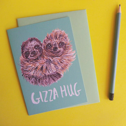 Gizza Hug Sloth A6 Card