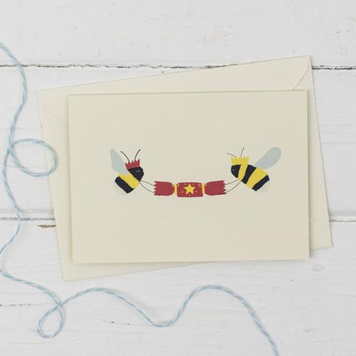 Bees with Christmas cracker- Christmas greetings card