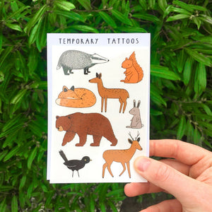 Woodland Animals Temporary Tattoo Sheet