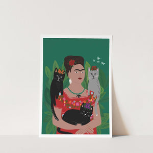 Frida and her catlo's A4 Print