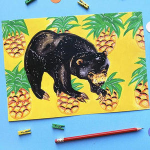 Sun Bear and Pineapples Print