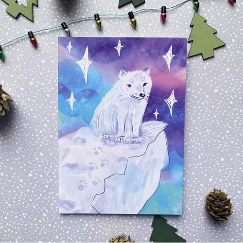 Artic Fox A6 Recycled Christmas Greeting Card