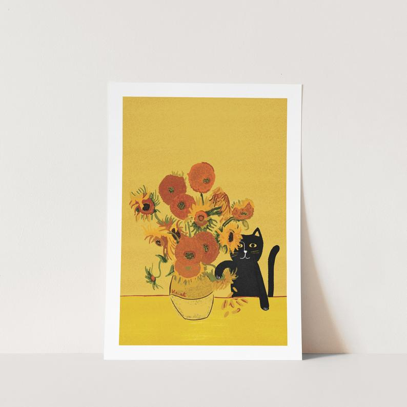 Sunflower Cat A4 Print