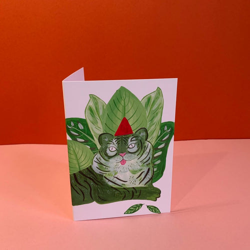 Green Party Tiger in Hat Card