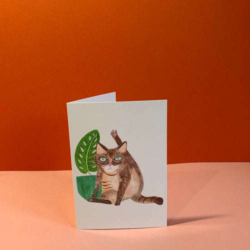 Cat Licking Card