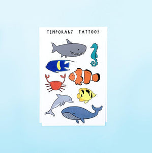 Ocean Animals Temporary Tattoo Sheet