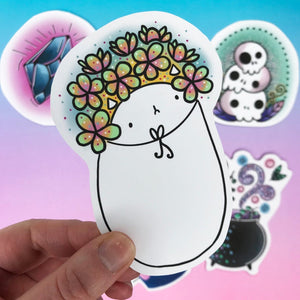 Flower Hat Cat Vinyl Sticker
