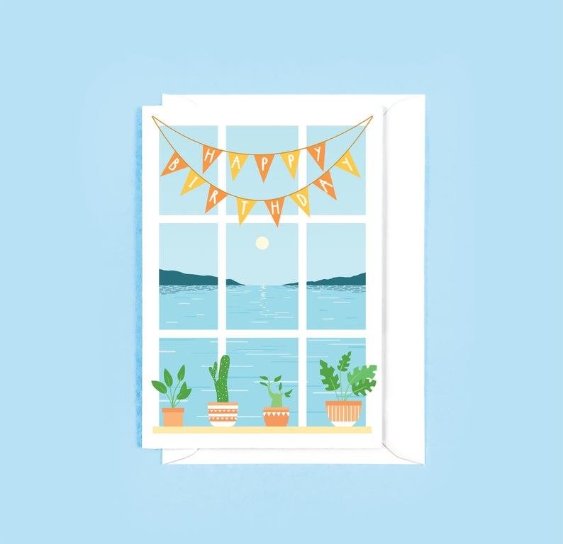 Window View Birthday Card