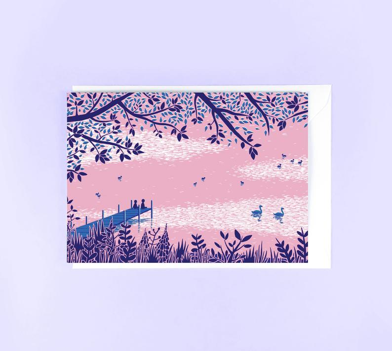 Lake Sunset Greetings Card