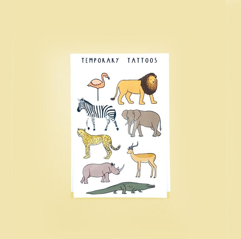 African Animals Temporary Tattoo Sheet