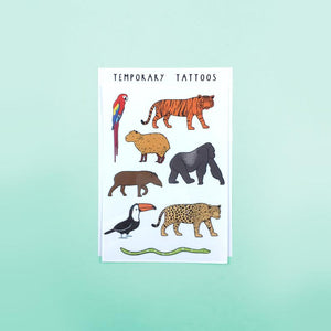 Jungle Animals Temporary Tattoo Sheet