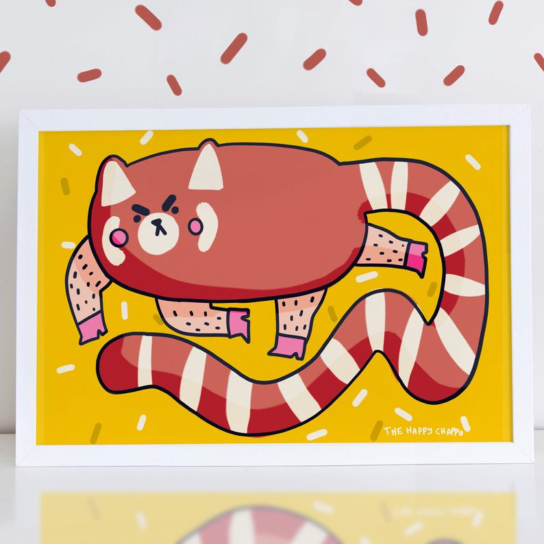 Chunky Thicc Red Panda A4 Print