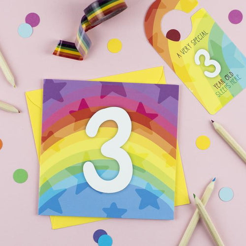 Three year old rainbow card with Cut-Out Crafty Activity