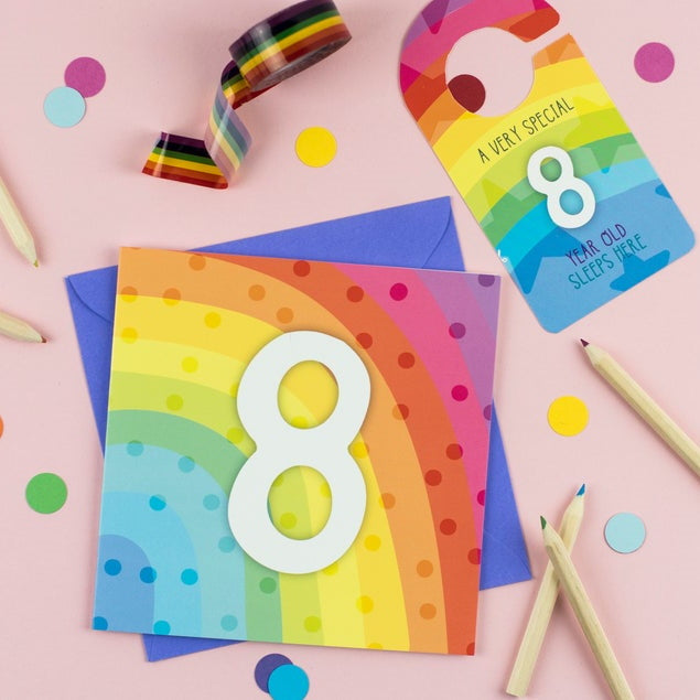 Eight year old rainbow card with Cut-Out Crafty Activity