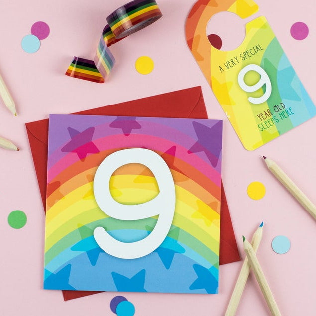 Nine year old rainbow card with Cut-Out Crafty Activity