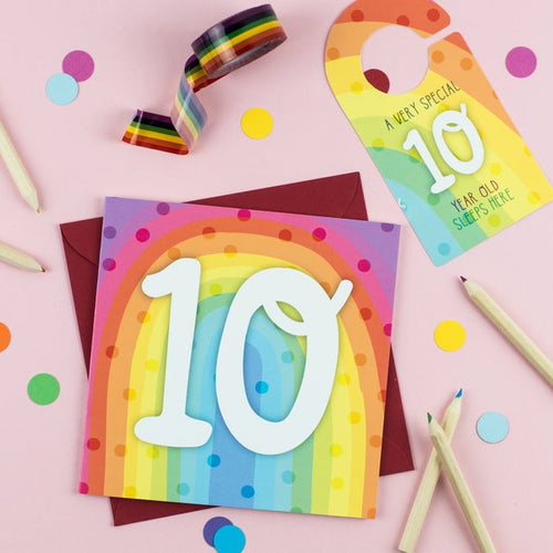 Ten year old rainbow card with Cut-Out Crafty Activity
