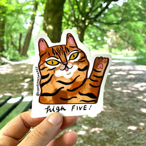 Cute High Five CAT Vinyl sticker