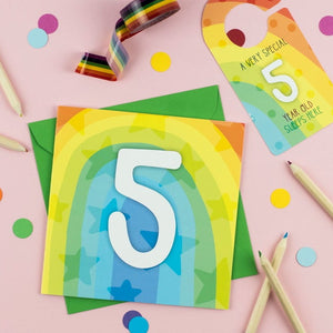 Five year old rainbow card with Cut-Out Crafty Activity