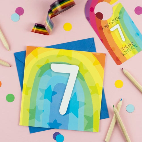 Seven year old rainbow card with Cut-Out Crafty Activity