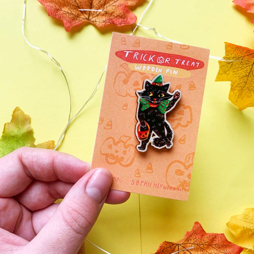 Witch Black Cat Wooden Pin