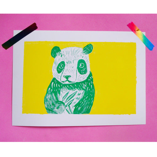 Panda Two Colour Risograph A4 Print