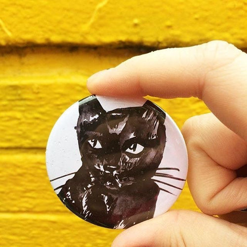 Black Cat Illustrated Badge