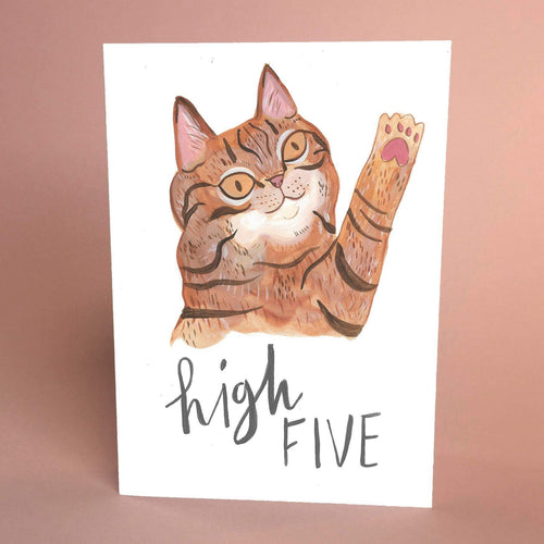 High Five Cute Tabby Cat Card