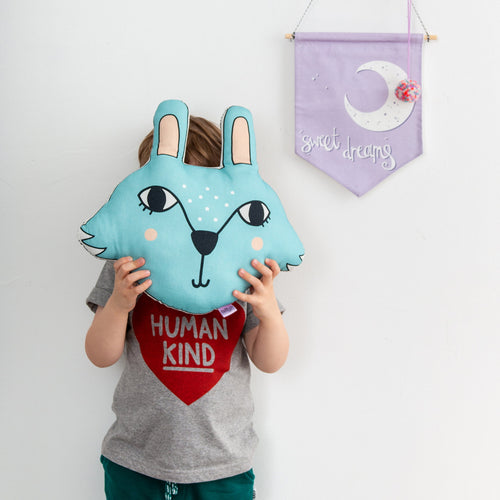 Blue Bunny Rabbit Pillow