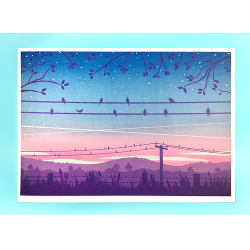 Birds at Sunrise Risograph Print