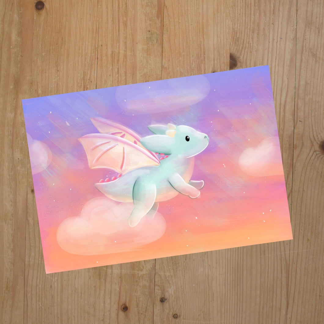 Sunset Flying Dragon Print