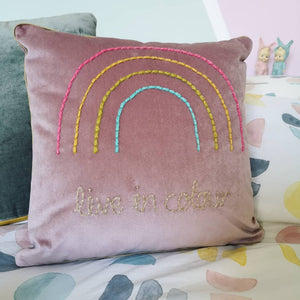 Live in Colour Embroidered Velvet Cushion