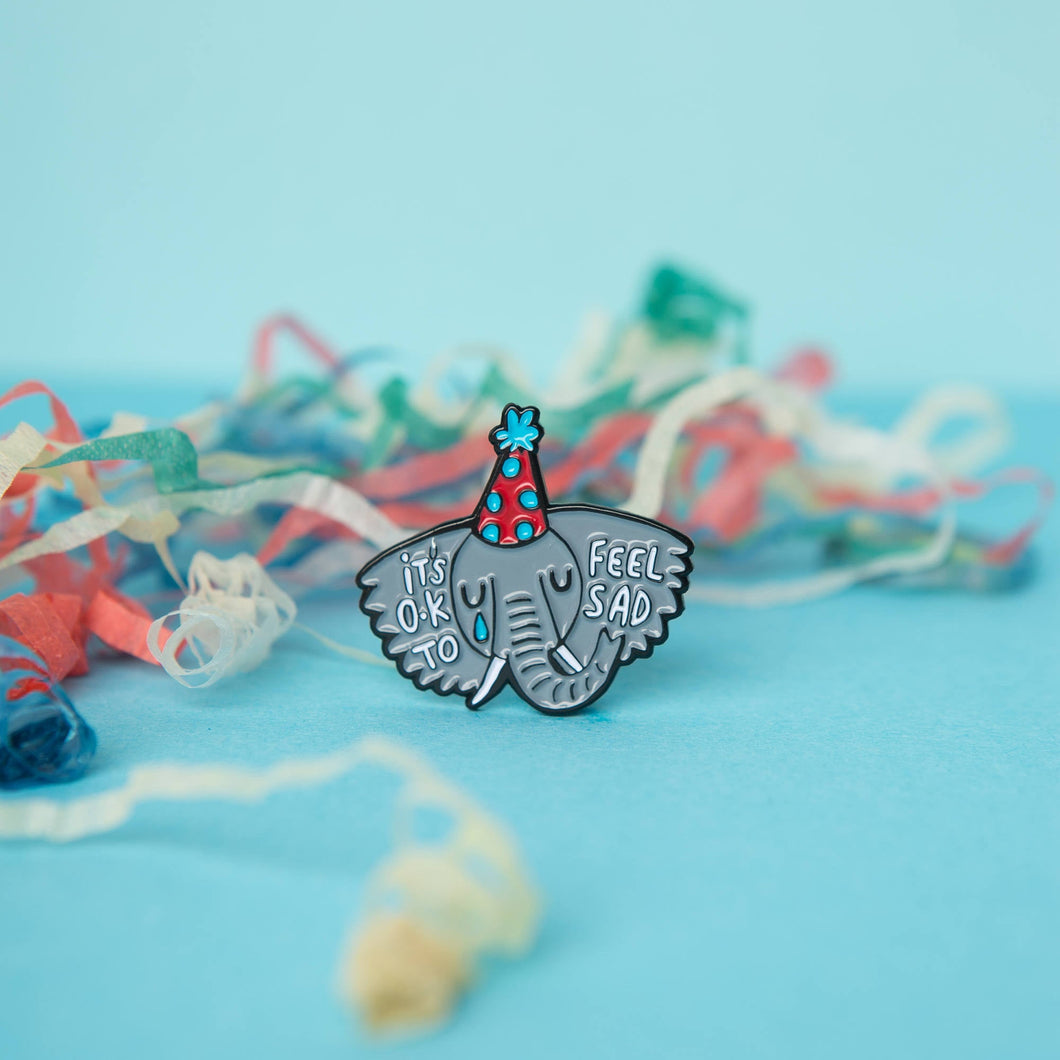 Sad Elephant Enamel Pin