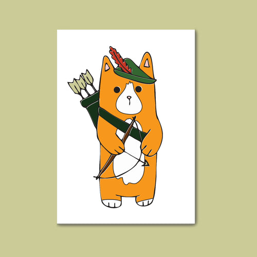 Robin Hood Kitty Postcard